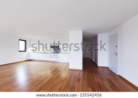 empty apartment inside. interior modern empty flat  apartment nobody inside Interior Modern Empty Flat Apartment Nobody Stock Photo 135542420