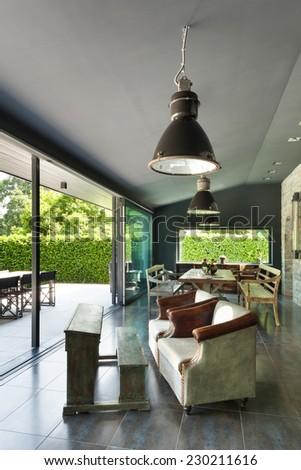 Interior, modern house, dining room. vintage furniture - stock photo