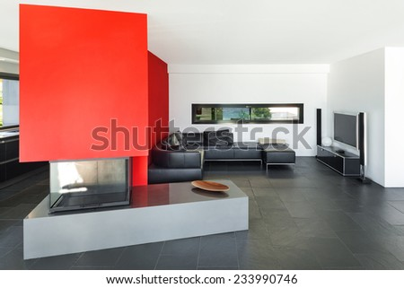 Interior, modern house, living room with fireplace - stock photo