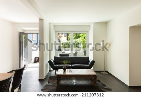 interior modern house, nice living room - stock photo