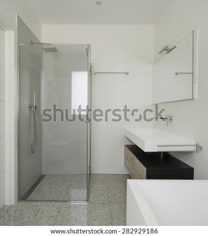 interior modern house, white bathroom with shower box - stock photo