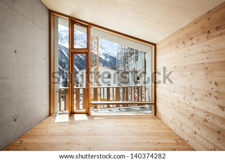 interior, modern house with wooden wall, large window  - stock photo