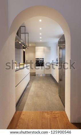 interior, modern loft, view of the kitchen - stock photo