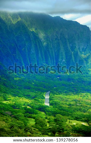 Interior mountains and landscape of Oahu Island, Hawaii - stock photo
