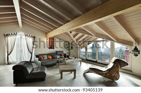 interior new loft, ethnic furniture, livingroom - stock photo