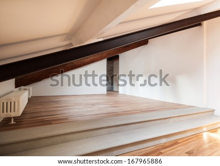 Interior nice loft, wall white, parquet floor