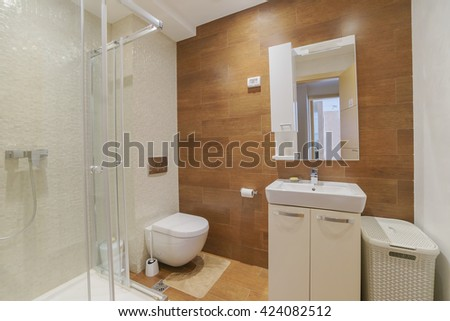 Interior of a bathroom in a guest house  - stock photo