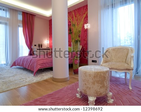 interior of a bedroom - stock photo