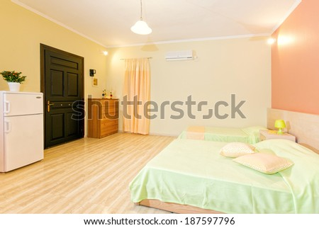 interior of a bedroom in a modern apartment