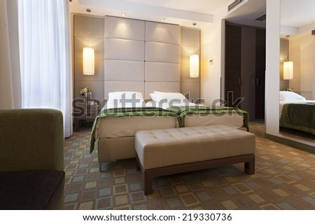 Interior of a bedroom in luxury apartment