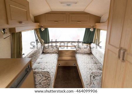 Interior of a caravan popular cheap family holiday home.