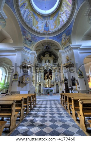 Interior of a catholic church - stock photo