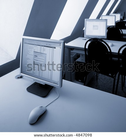 interior of a computer class - stock photo