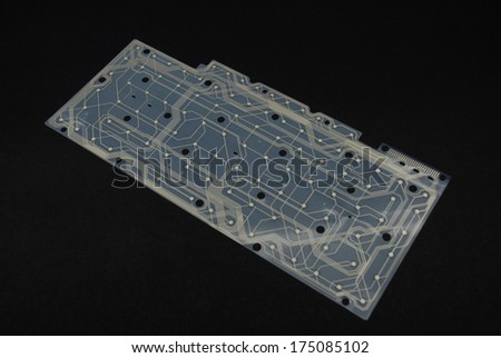 Interior of a computer keyboard showing the connections for the keys - stock photo