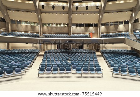 interior of a conference hall, view from the stage - stock photo