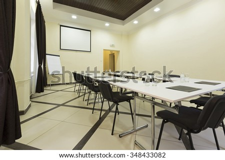 Interior of a conference room in a hotel building - stock photo