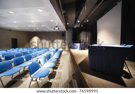 interior of a Congress Palace, conference hall - stock photo