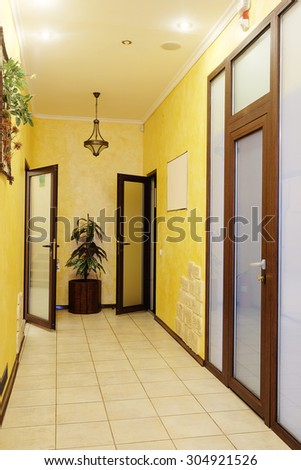 Interior of a corridor in the medical center or office center - stock photo