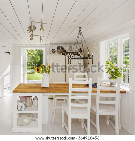 interior of a country house kitchen - stock photo