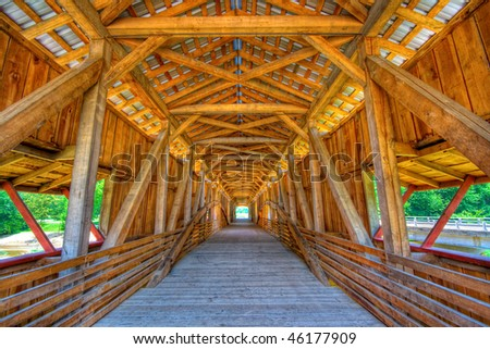Interior of a covered bridge - stock photo
