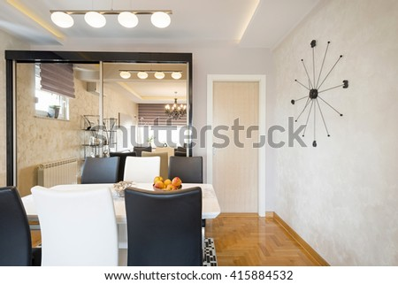 Interior of a dining room - stock photo