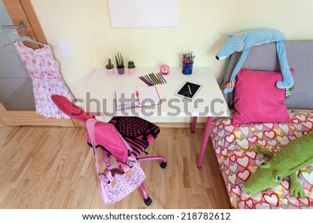 Interior of a female pupil room, horizontal - stock photo