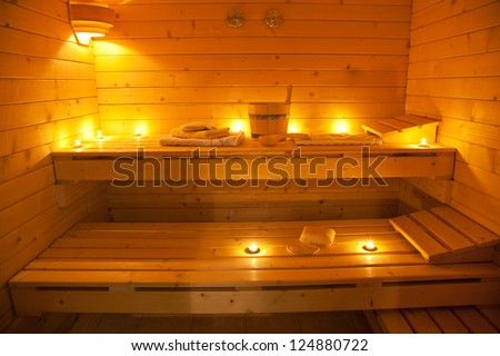 interior of a finnish sauna - stock photo