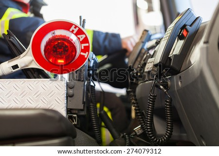 Interior of a fire truck - stock photo