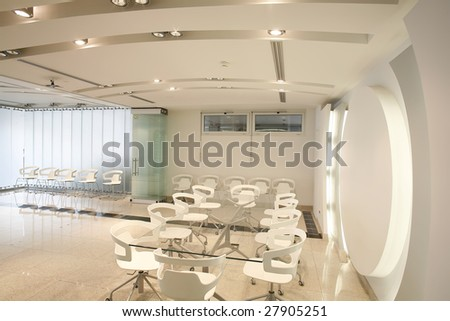 interior of a futuristic white boardroom - stock photo
