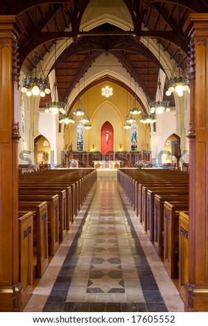 Interior of  a great classical church - stock photo