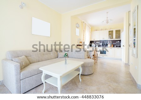 Interior of a guest house room with kitchen
