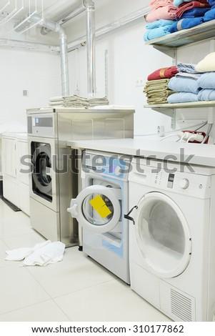 Interior of a hospital laundry - stock photo