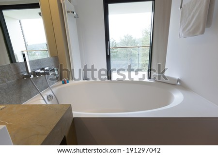 Interior of a hotel bathroom with a view