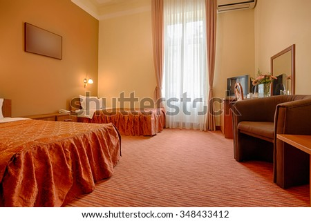 Interior of a hotel master bedroom