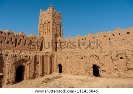 Interior of a ksar mud made castle - stock photo