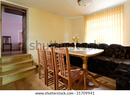 Interior of a living and dining room in a new apartment