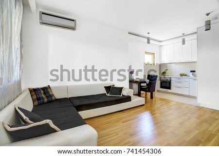 Interior of a living room with kitchen area in a private apartment