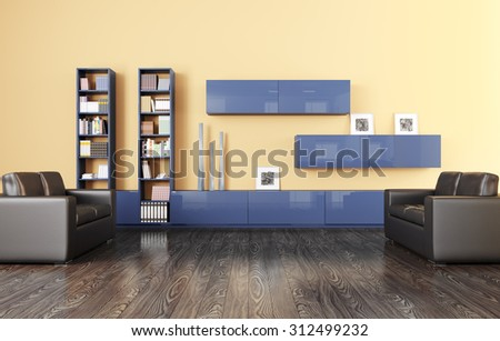 Interior of a living room with sideboard and two sofas 3d render - stock photo
