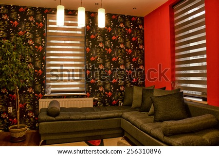 Interior of a living room with sofa.