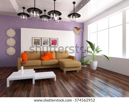 interior of a living room with sofa. 3d concept - stock photo