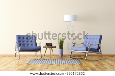 Interior of a living room with two rocking chairs, floor lamp 3d render - stock photo