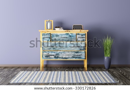 Interior of a living room with vintage chest of drawers and carpet 3d render - stock photo