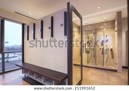 Interior of a locker, changing, shower room  - stock photo