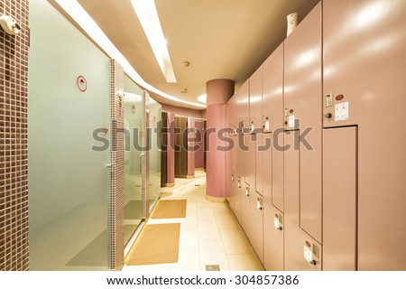 Interior of a locker, shower, changing room  - stock photo