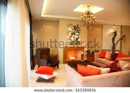 interior of a luxury living room with big sofa