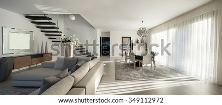Interior of a modern apartment, comfortable living room - stock photo
