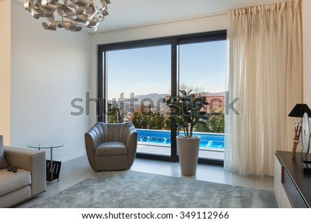 Interior of a modern apartment, detail living room - stock photo