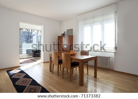 interior of a modern apartment, dining room - stock photo