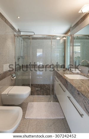 Interior of a modern apartment, domestic bathroom - stock photo