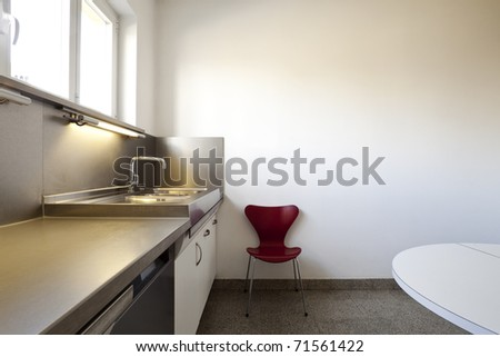 interior of a modern apartment, kitchen view